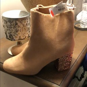 Suede sparkle booties